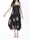 Vintage Women Sleeveless O Neck Pattern Printed Linen Dress