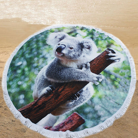 150cm 3D Koala Printing Microfiber Beach Towel Soft Quick-drying Round Tassels Blanket