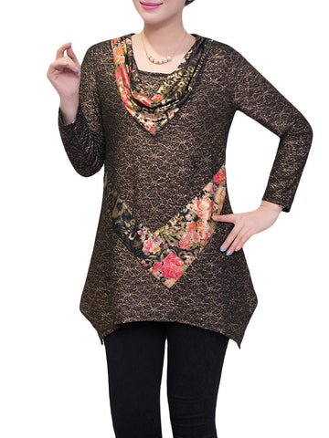 Casual Printed Patchwork Asymmetric Hem Blouse For Women