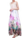 Vintage Women Sleeveless Chinese Style Printing Chiffon Maxi Dress