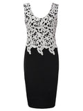 Sexy Lace Patchwork Sleeveless V-neck Party Pencil Dress