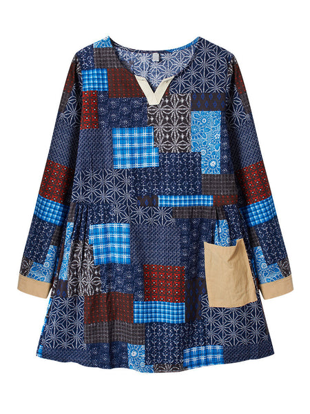 Ethnic Loose Printed Long Sleeve Cotton Linen Dress