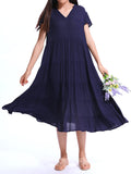 Vintage Women Short Sleeve V Neck Ruffles Pure Color Big Skirt Dress