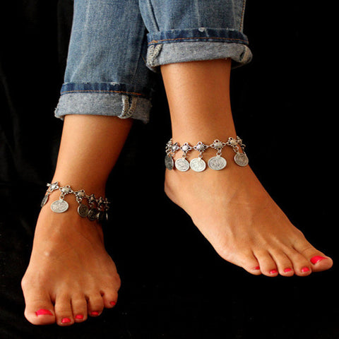 Vintage Antique Silver Charm Coin Beach Anklet
