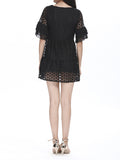 Elegant Flower Embroidered Flare Sleeve Organza Mini Dress For Women