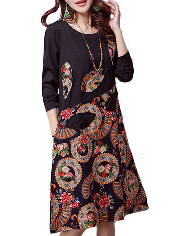 Folk Style Printed Patchwork Knee-Length Long Sleeve O-neck Loose Cotton Linen Dress