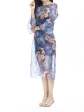 Vintage Women Half Sleeve Flower Printing Split Chiffon Maxi Dress With Belt