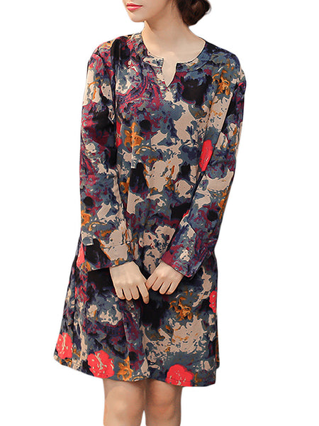 Vintage Women Linen Floral V Neck Long Sleeve Dress