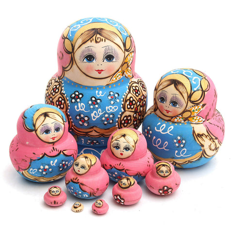 10Pcs Wooden Russian Nesting Babushka Matryoshka Dolls Hand Painted Dolls Set