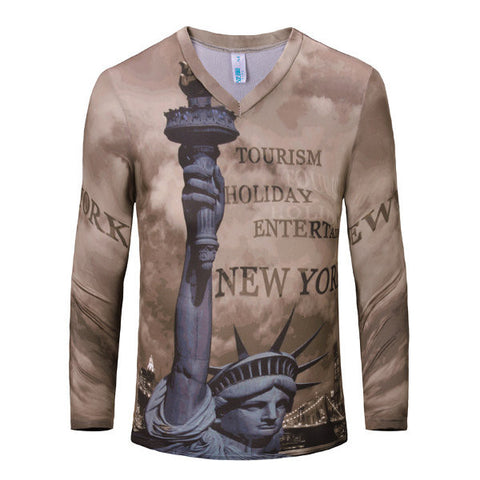 Casual Letters Printing V-Neck Slim Fit Long Sleeve T-shirts For Men