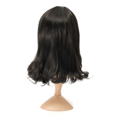 4 Colors Medium Long Curly Wavy Full Wig Bobo Hair Women Party Cosplay 40cm