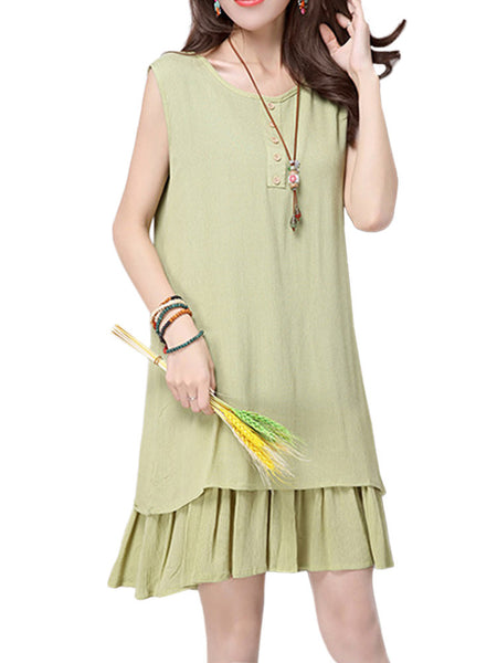 Vintage Women Sleeveless O Neck Pure Color Cotton Linen Mini Dress