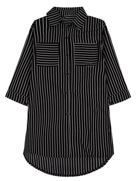 Leisure Women Stripe Pockets Single Breasted Half Sleeve Turn-Down Collar Blouse