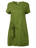Chinese Style Pocket Pure Color Short Sleeve Mini Dress For Women