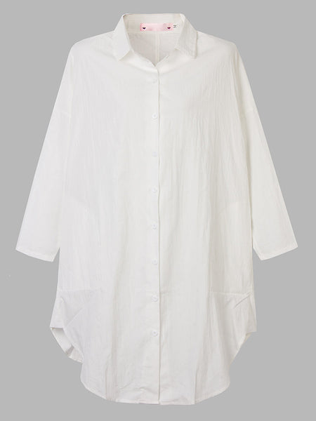 Casual Long Sleeve Loose Asymmetric Split White Shirt Dress