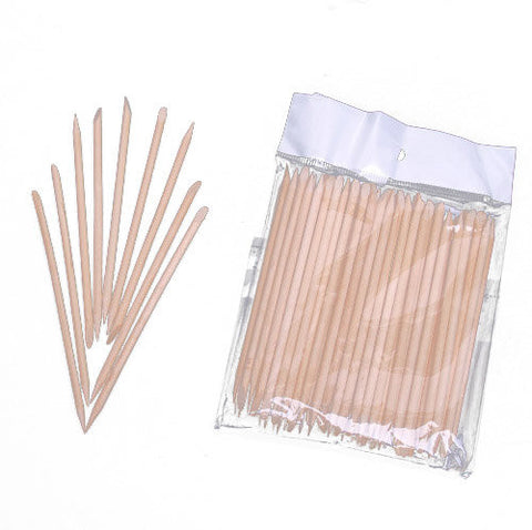 100 Pcs Wood Sticks Nail Art Cuticle Pusher Remover