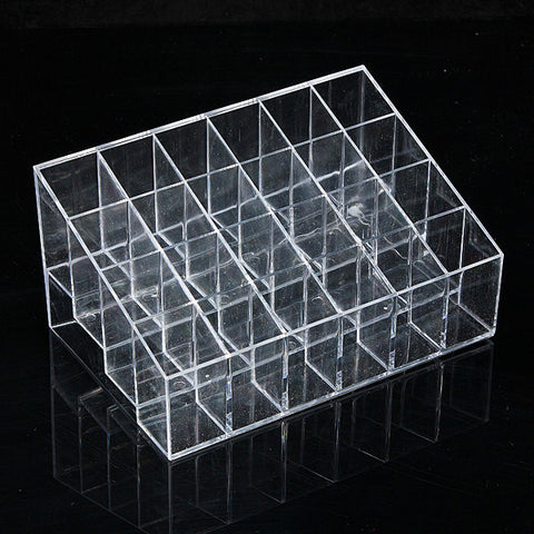 24 Grid Clear Makeup Holder Lipstick Nail Polish Display Trapezoid Organizer