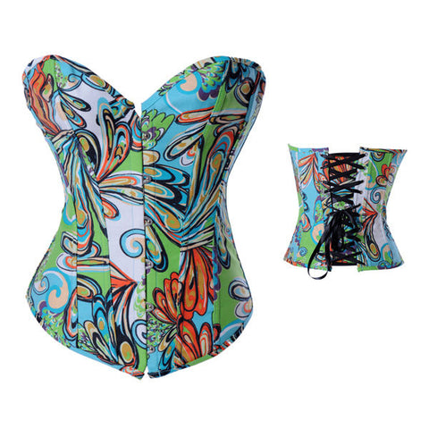 Women Sexy Peacock Tail Printing Corset Colorful Satin Overbust Bustier