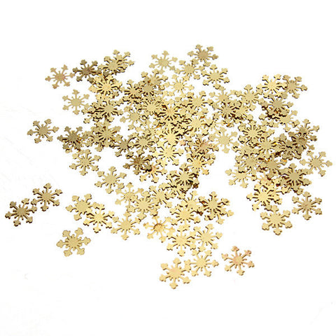 100Pcs Golden Metal DIY Nail Art Snowflake Decoration Stickers