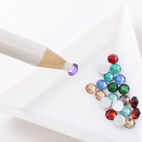 White Rhinestones Picker Pencil Nail Art Tool Wax Pen Gem Crystal