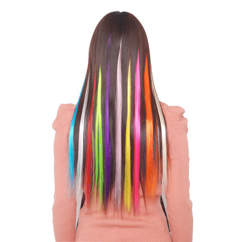 5Pcs Pure Color Fashion Straight Hair Tablets Hair Extension Piece