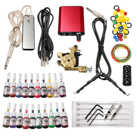 220V Professional Tattoo Machine Kit 20 Colors Ink Power Supply Set