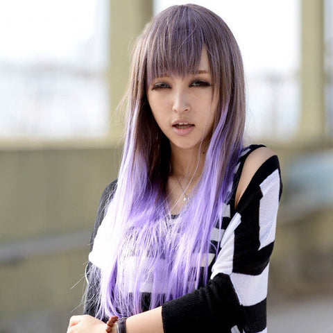 Light Purple Gradient Fashion Long Straight Wig Girls