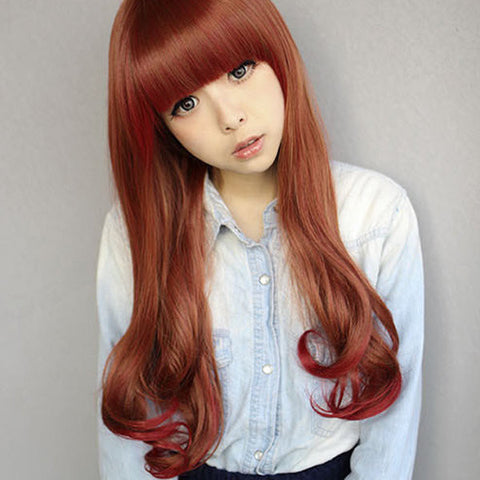 Daily Gradient Red Brown Curly Wave Hair Wig