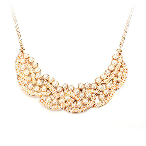 White Beads Alloy Collar Chain Necklace