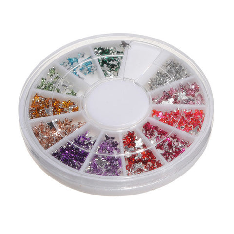 12 Colors Acrylic Rhinestone Crystal Butterfly Nail Art Decoration Wheel
