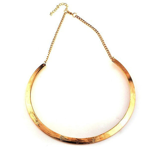 Vintage Slim Curved Metal Bib Collar Necklace