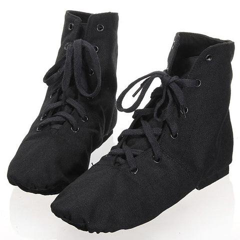 Black Canvas Lace Up Comfy Breathable Jazz Ballet Dance Shoes