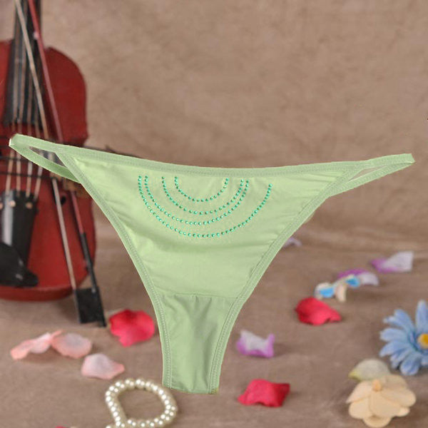Women Sexy Seamless Hollow Out Thongs Low Waist Green V-Strings Underwear