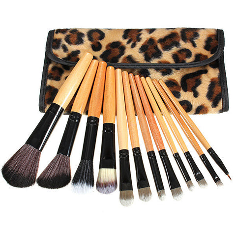 12Pcs Makeup Brush Set Foundation Eyeshadow Lip Brush With Leopard Leather Bag