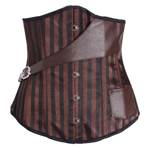 Women Sexy Brown Striped Steampunk Bustier Steel Bone Leather Underbust Corset