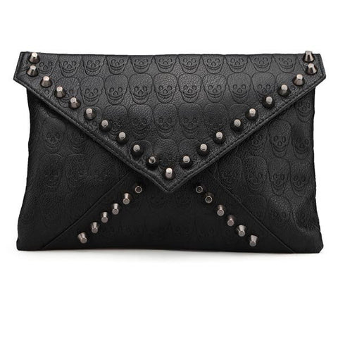 Fashion Punk Style Skulls Rivets Women Clutch Bag