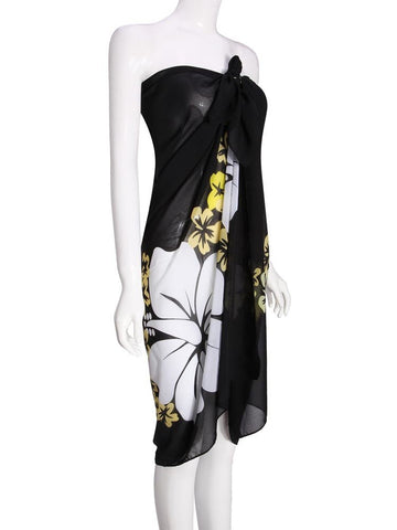 Black Pearl Wrapped Printing Chiffon Slip Beach Towels Belt Dress - shechoic.com