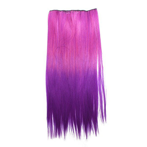 Gradient Color Straight Long Hair Piece Extension Clip In 3 Colors