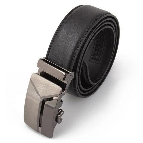 120cm Adjustable Men's Cowhide Leather Auto Buckle Black Belt - shechoic.com