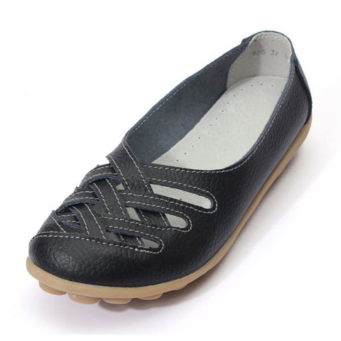 Hollow Out Leather Breathable Casual Slip On Moccasin Ballet Flat Shoes