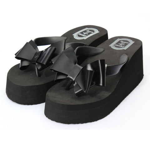 Butterfly Knot Platform Clip Toe Beach Slippers
