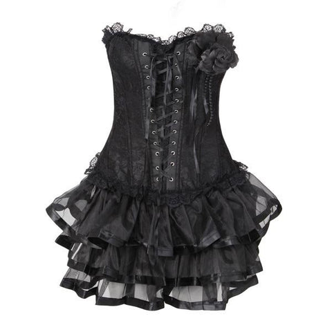 Women Sexy Lace Up Embroidered Overbust Corset Push Up Corsets Dress
