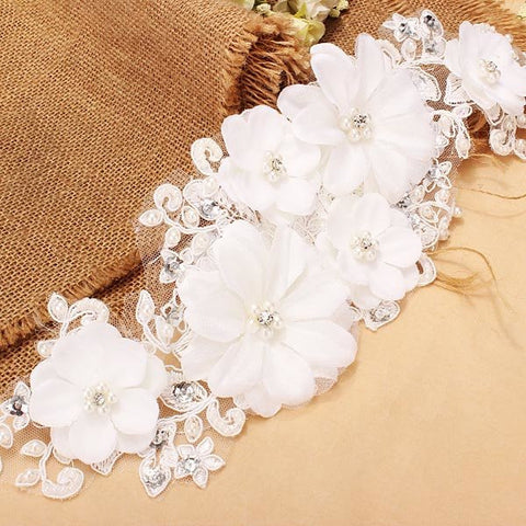 Bridal Jewelry Lace Headdress Wedding Pearl Headpieces