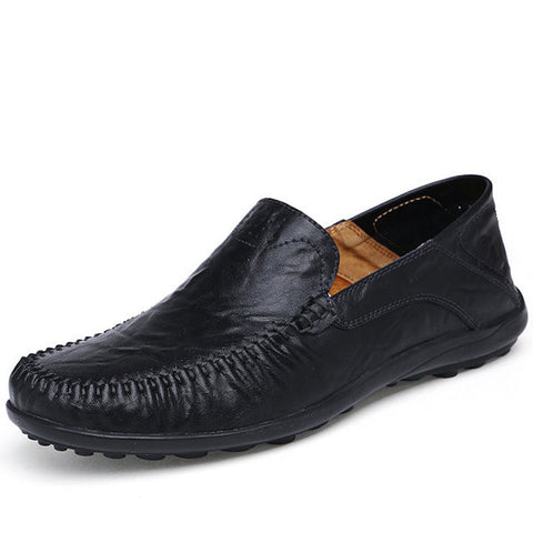 Big Size Men Hollow Out Slip On Flat Leather Shoes