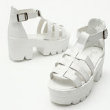 Hollow Out Buckle Chunky Heel Fish Mouth Sandals
