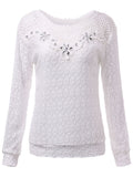 Women Long Sleeve Lace Crochet Patchwork Chiffon Blouse