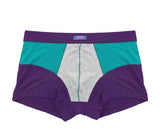 Men's Smooth Breathable Banboo Fiber Boxers Patchwork Color U Convex Separated Pouch Underwears