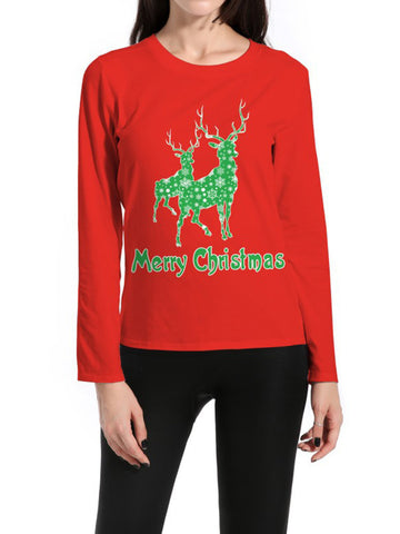 Women Christmas Long Sleeve Printed Casual T-shirt