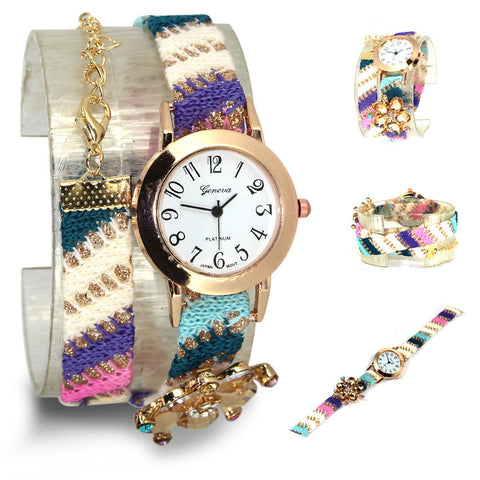 Alloy Rhinestone Flower Hand-Woven Cotton Bracelet Watch