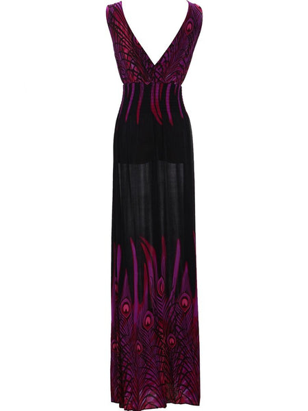 Bohemia Beach Holiday Peacock Feathers Printed V-Neck Long Dress For Women - shechoic.com